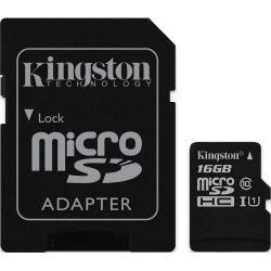 Флеш карта microSDHC 16Gb class10 Kingston SDC10G2/16GB   adapter