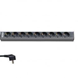 Блок розеток Hyperline SHT19-9SH-2.5EU для 19″ шкафов, горизонтальный, 9 универсальных розеток, 16A