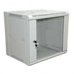 Настенный шкаф 19″ 9U (570*450) RAL 7035, цвет серый, стеклянная дверь