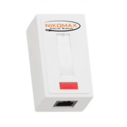 Розетка NIKOMAX (NMC-WO1UD2-WT) Кат.5e, RJ45/8P8C, 110/Krone, 1 порт, T568A/B (NMC-WO1UD2-WT) компьютерная настенная