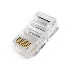 Разъем Hyperline PLUG-8P8C-U-C5, RJ-45(8P8C) под витую пару, категория 5, универсальный (для одножильного и многожильного кабеля)