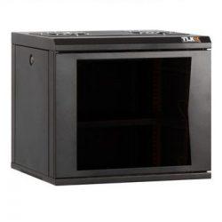 Настенный шкаф TLK TWC-095350-G-W-BK 19″ TWC-095350-G-W-BK, 9U, стеклянная дверь, Ш530хВ466хГ500мм, цельносварной, черный