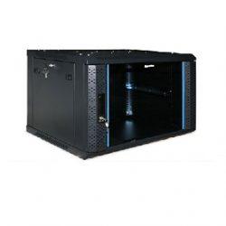 Шкаф настенный Hyperline TWFS-0666-GP-RAL9004, 19-дюймовый (19″), 6U, 367×600х600мм, стеклянная дверь с перфорацией по бокам, ручка с замком, цвет черный