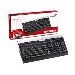 Клавиатура GENIUS Slim Star 220,104 12кн водостойкая черно-серебрянная PS/2
