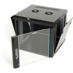 Шкаф настенный Hyperline TWFS-1245-GP-RAL9004, 19-дюймовый (19″), 12U, 650×600х450мм