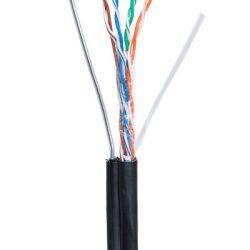 Кабель Netlan U/UTP4 пары, (EC-UU004-5E-PE-SW-BK) кат. 5е, (Класс D) внешний, PE-40, с одножильным тросом, CU (чистая медь), одножильный, 100МГц, черный