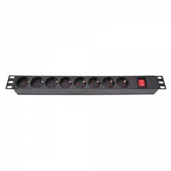 Блок розеток 220В, 19″, 1U, 8 розеток с выключателем
