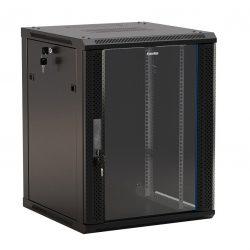 Шкаф настенный Hyperline TWFS-1245-GP-RAL9004, 19-дюймовый (19″), 12U, 650×600х450мм, стеклянная дверь с перфорацией по бокам, ручка с замком, цвет черный