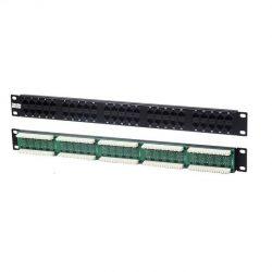 Патч-панель Hyperline PP-19-50-8P8C-C5-110D, 19» (1U), 50 портов RJ-45, категория 5, Dual IDC (комп. раскладка, 2 пары на порт 1,2,3,6)