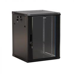 Шкаф настенный Hyperline TWB-1566-GP-RAL9004 19-дюймовый (19″), 15U, 775×600х600, стеклянная дверь с перфорацией по бокам, ручка с замком, цвет черный