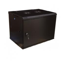 Шкаф настенный Hyperline TWFS-0645-SR-RAL9004, 19- дюймовый (19″), 6U, 367×600х450мм, металлическая передняя дверь с замком, две боковые панели, цвет черный