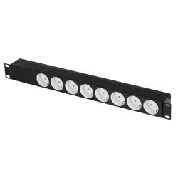 Блок электрических розеток TLK TLK-RS08M1N-BK, 19″, 8 гнезд, 10 А, с фильтром, без выключателя и предохранителя, без шнура питания, железный корпус